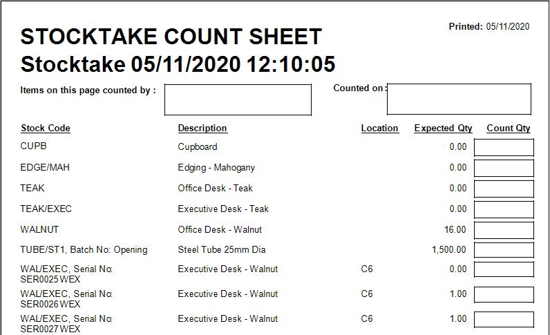 Cim50 stocktake count sheet